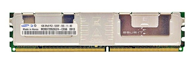 Memory RAM 1x 1GB Samsung ECC FULLY BUFFERED DDR2 667MHz PC2-5300 FBDIMM | M395T2953GZ4-CE66