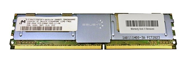 Memory RAM 1x 2GB Micron ECC FULLY BUFFERED DDR2 667MHz PC2-5300 FBDIMM | MT36HTF25672FY-667D1D4